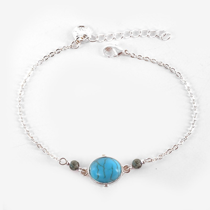 Bracelet with gem stones, silver plated, Made In France. CHORANGE French Designer Fashion Jewelry. Nickel Free.