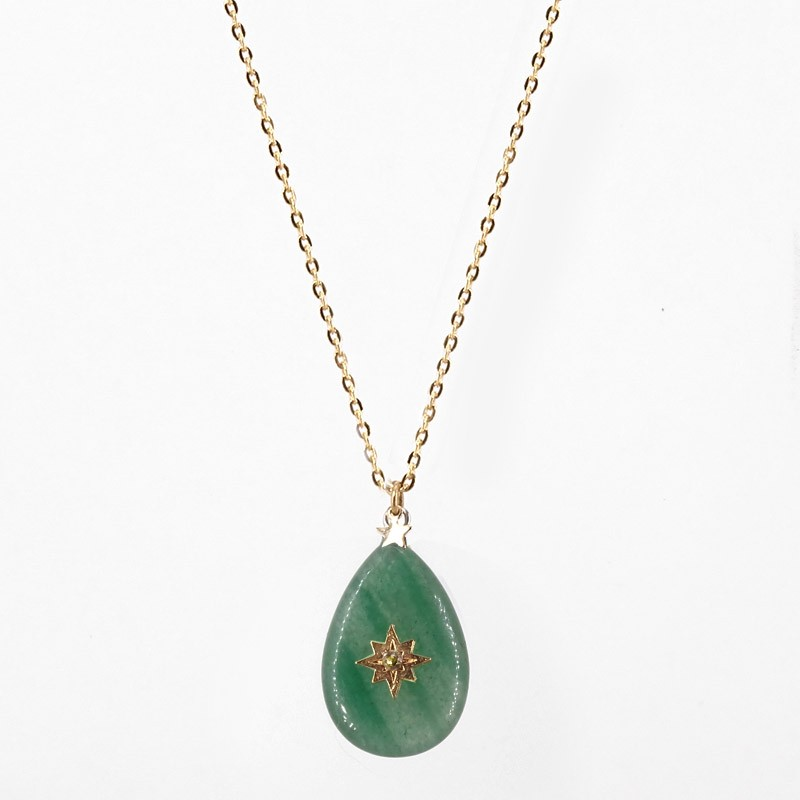 necklace with gems or shell pendant- CHORANGE French Designer Fashion Jewelry