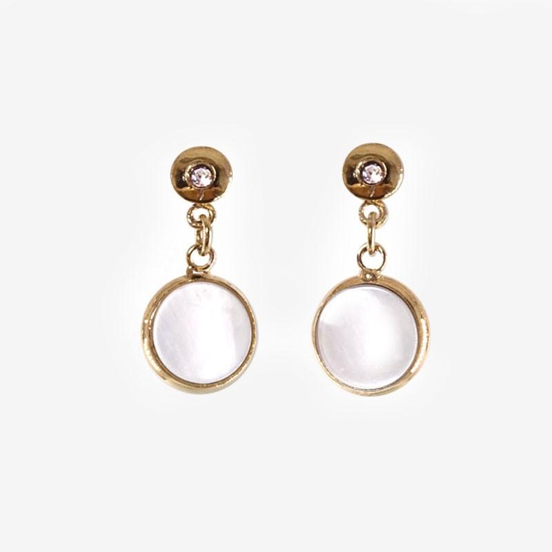 Boucles d'oreilles en métal or avec pendentif en nacre naturelle blanche et
