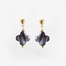 Clover Earrings with Grey Mother Of Pearl, Gold Plated Metal, CHORANGE French Designer Fashion Jewelry in France.