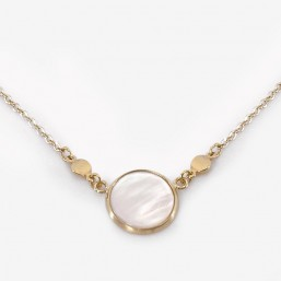 Necklace with Mother Of Pearl, Gold Plated,  CHORANGE French Designer Fashion Jewelry. Nickel free. Made in France.