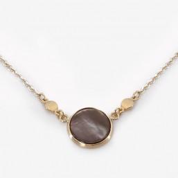 Collier en nacre grise métal plaqué argent 10µ. Fabriqué en France. Chorange Créateur Bijoux Fantaisie.