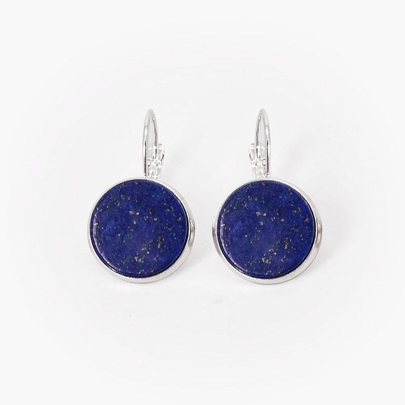 Boucles d'oreilles en métal avec pierres semi-précieuses
