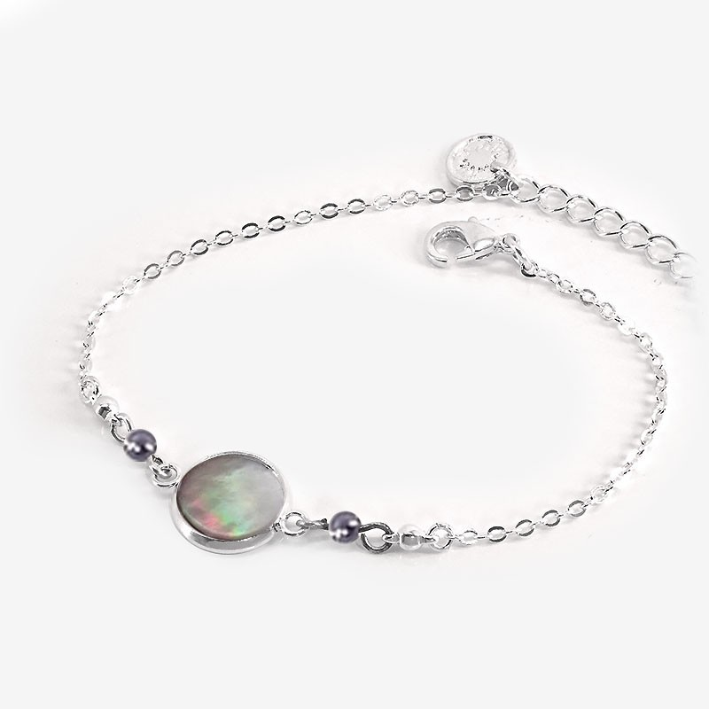 MOP and silver metal bracelets produce in France by Chorange designer of costume jewellerys