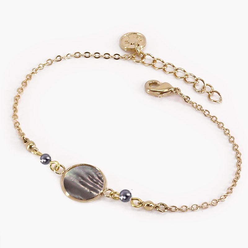 MOP and gold plated metal bracelets produce in France by Chorange designer of costume jewellerys