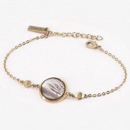 Gold Bracelet with Grey Mother Of Pearl,  CHORANGE French Designer costume Jewelry in Cannes.