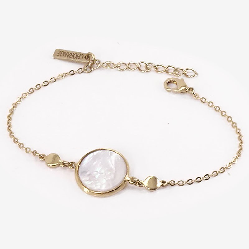 Gold Bracelet with white Mother Of Pearl,  CHORANGE French Designer costume Jewelry in Cannes.