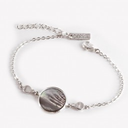 Bracelet with Grey Mother Of Pearl, Silver Plated Metal, CHORANGE French Designer Fashion Jewelry in Cannes.