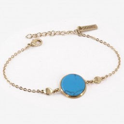 bracelet plaqué or fin et turquoise, Fabriqué en France. Sans nickel. CHORANGE Créateur Bijoux Fantaisie