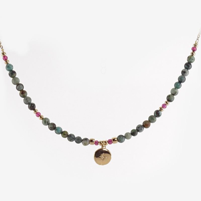 collier fantaisie en african turquoise par Chorange