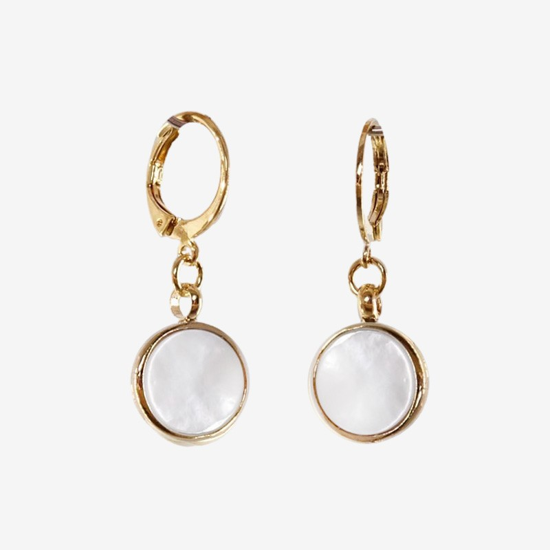 gold plated Earrings with  Mother Of Pearl, CHORANGE French Designer Fashion Jewelry in Cannes.
