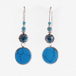 Earrings  with  Gems Stones, Made In France. CHORANGE French Designer Fashion Jewelry. Nickel Free
