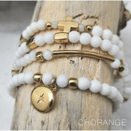 Elastic Bracelet with White Mother Of Pearl, CHORANGE French Designer Fashion Jewelry