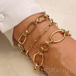 bracelet en or femme mailles dorées  par chorange bijoux fantaisie de créateur