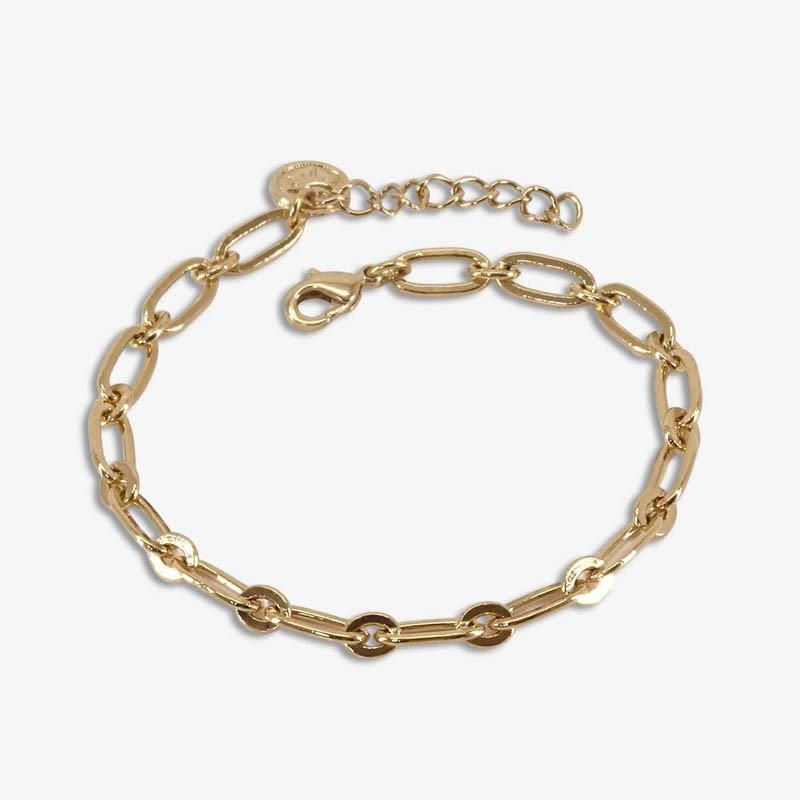 bracelet chaîne métal plaque or Chorange