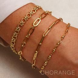 bracelets fantaisie dorés  avec une chaîne en métal Chorange