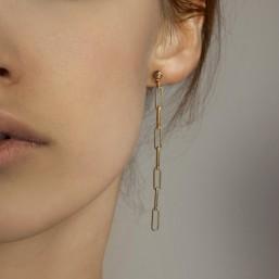 longue Boucle d'oreille à clou dorée à l'or fin 24cts