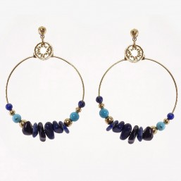 earring with Gems Stones, Made In France. CHORANGE French Designer Fashion Jewelry. Nickel Free.