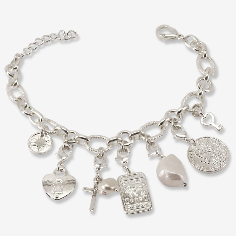 silver plated bracelets with charms made in France by Chorange parisian designer