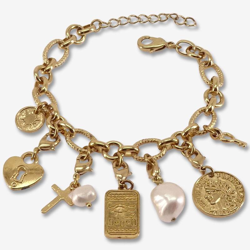 bracelet doré avec pampilles et charms metal Chorange bijoux fantaisie