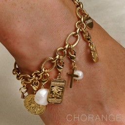 gold  plated bracelets with charms made in France by Chorange parisian designer