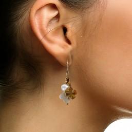 boucle d'oreille pampilles en nacre et or Chorange créateur de bijoux fantaisie