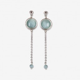 silver earring with chain pendant and gemstone amazonite Chorange fashion jewel