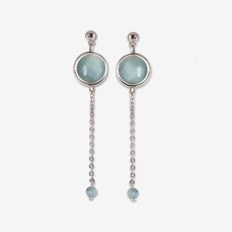 silver earring with chain pendant and gemstone amazonite Chorange fashion jewel