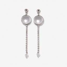 silver earring with chain pendant and gemstone Chorange fashion jewel