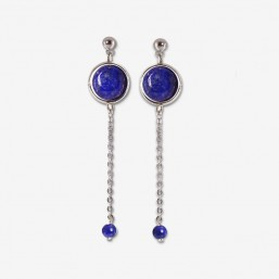 silver earring with chain pendant and gemstone lapis lazuli Chorange fashion jewel