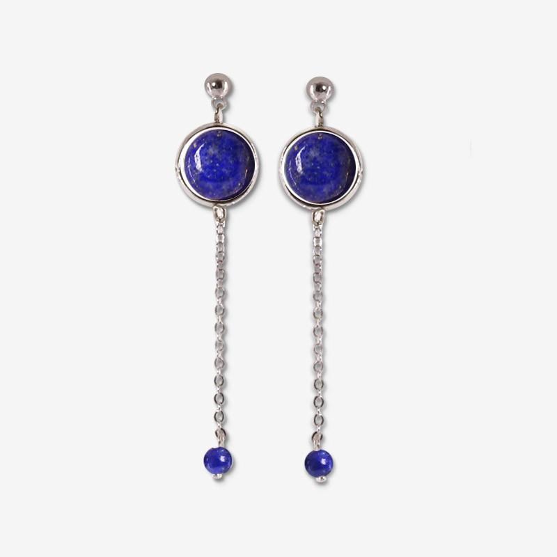 boucle d'oreille fantaisie chorange créateur bijoux fantaisie argent et lapis lazuli pierre semi précieuse