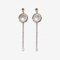 boucle d'oreille fantaisie chorange créateur bijoux fantaisie or et pierre semi précieuse
