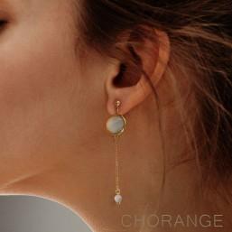 boucle d'oreille fantaisie chorange créateur bijoux fantaisie or et amazonite pierre semi précieuse