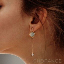 gold plated earring with chain pendant and gemstone Chorange fashion jewel