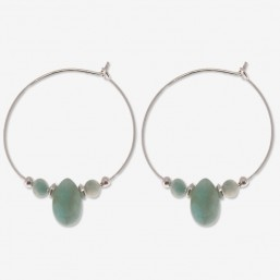 hoops earring with gemstone amazonite CHORANGE