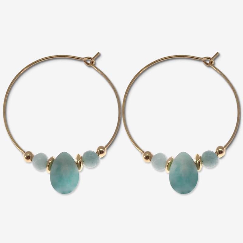 hoops  plated gold earring with gemstone amazonite CHORANGE