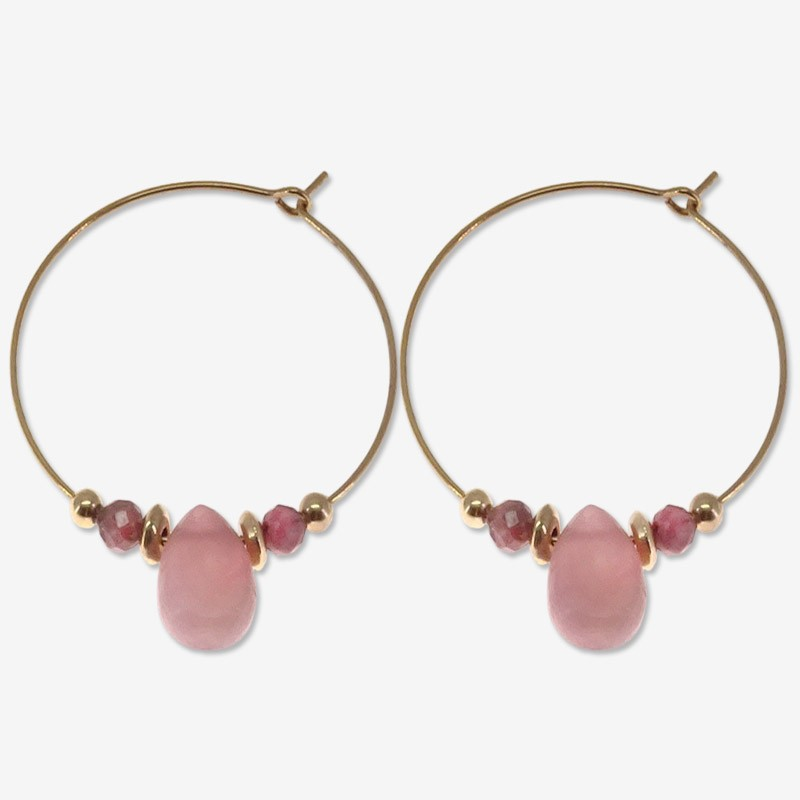 hoops earring  plated gold  with gemstone rose quartz CHORANGE