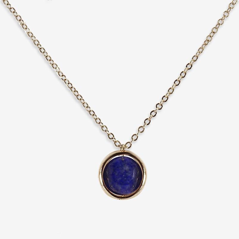 necklace gold or silver plated vith a gemstone lapis lazuli, amazonine, feldspar
