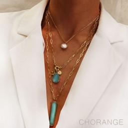 collier fantaisie palqué or tour de cou avec pierre fine bijoux Chorange créateur
