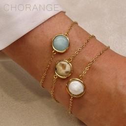 Bracelet plaqué or par créateur de bijoux fantaisie avec soit amazonite nacre ou jasper