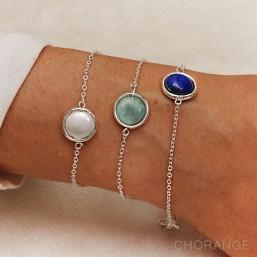 Bracelet plaqué argent par créateur de bijoux fantaisie avec soit amazonite, nacre ou lapis lazuli