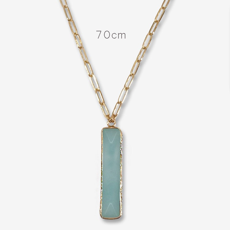 Long necklace with a amazonite pendant by Chorange designer of costume jewelrys