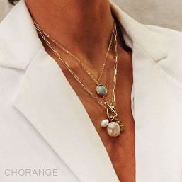 two necklaces with a gemstone plated fine gold by chorange
