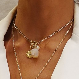 the necklace with a gemstone plated fine gold by chorange