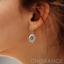 silver earring mother of pearl by Chorange french designer of fashion jewelry