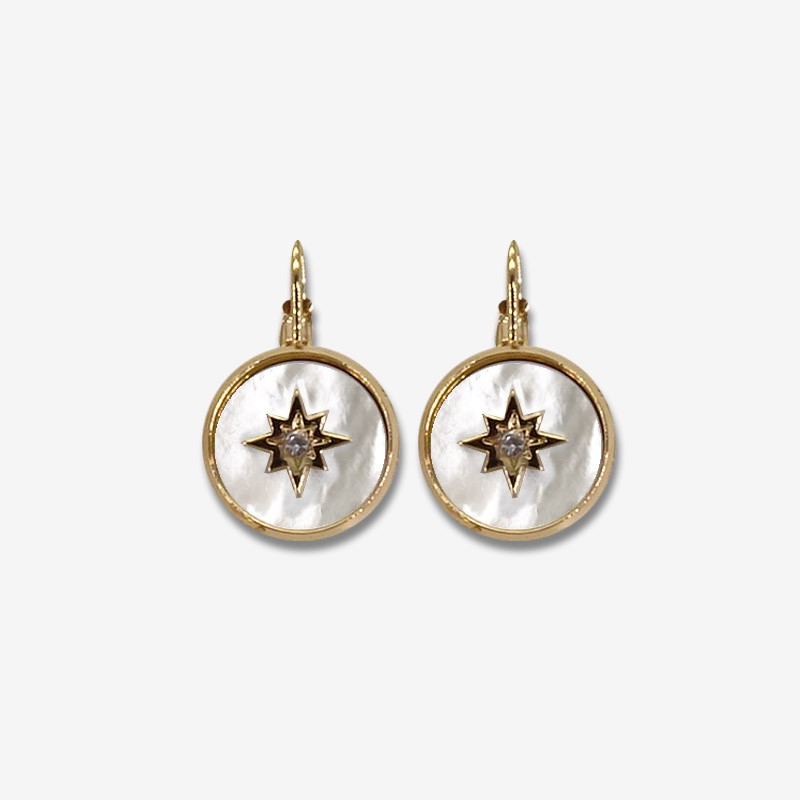Sleeper earring with mother of pearl size 14mm produce in France-nickelfree