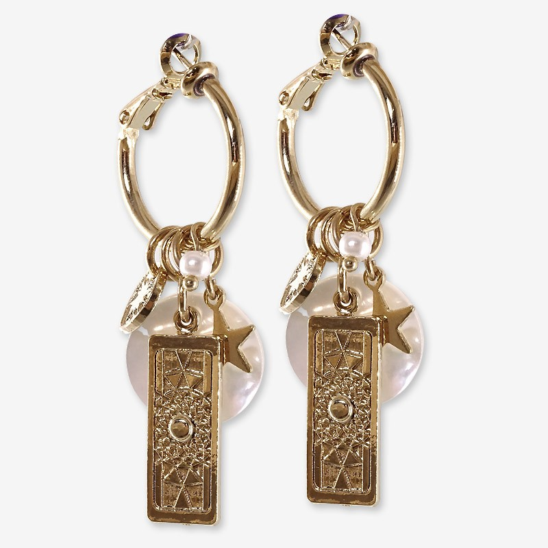 hoops Earrings with White Mother Of Pearl, Gold Plated Metal, CHORANGE French Designer Fashion Jewelry in Cannes.