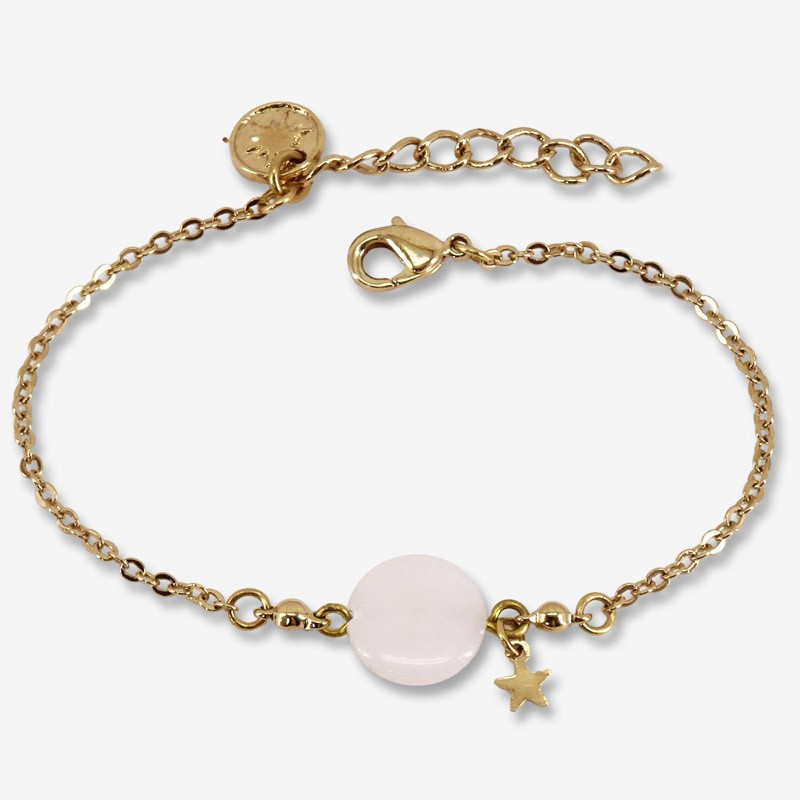 Chain bracelet size 15cm + extention this fashion jewellery is plated with fin gold 24 cts