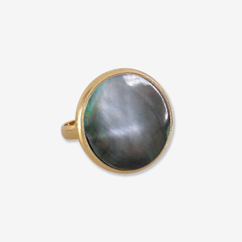bague réglable nacre noire ronde créateur de bijoux fantaisie