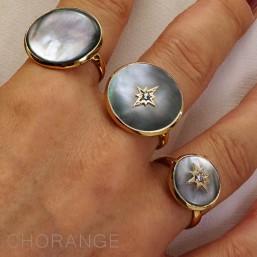bague réglable, nacre noire et doré par Chorange créateur de bijoux fantaisie -made in France